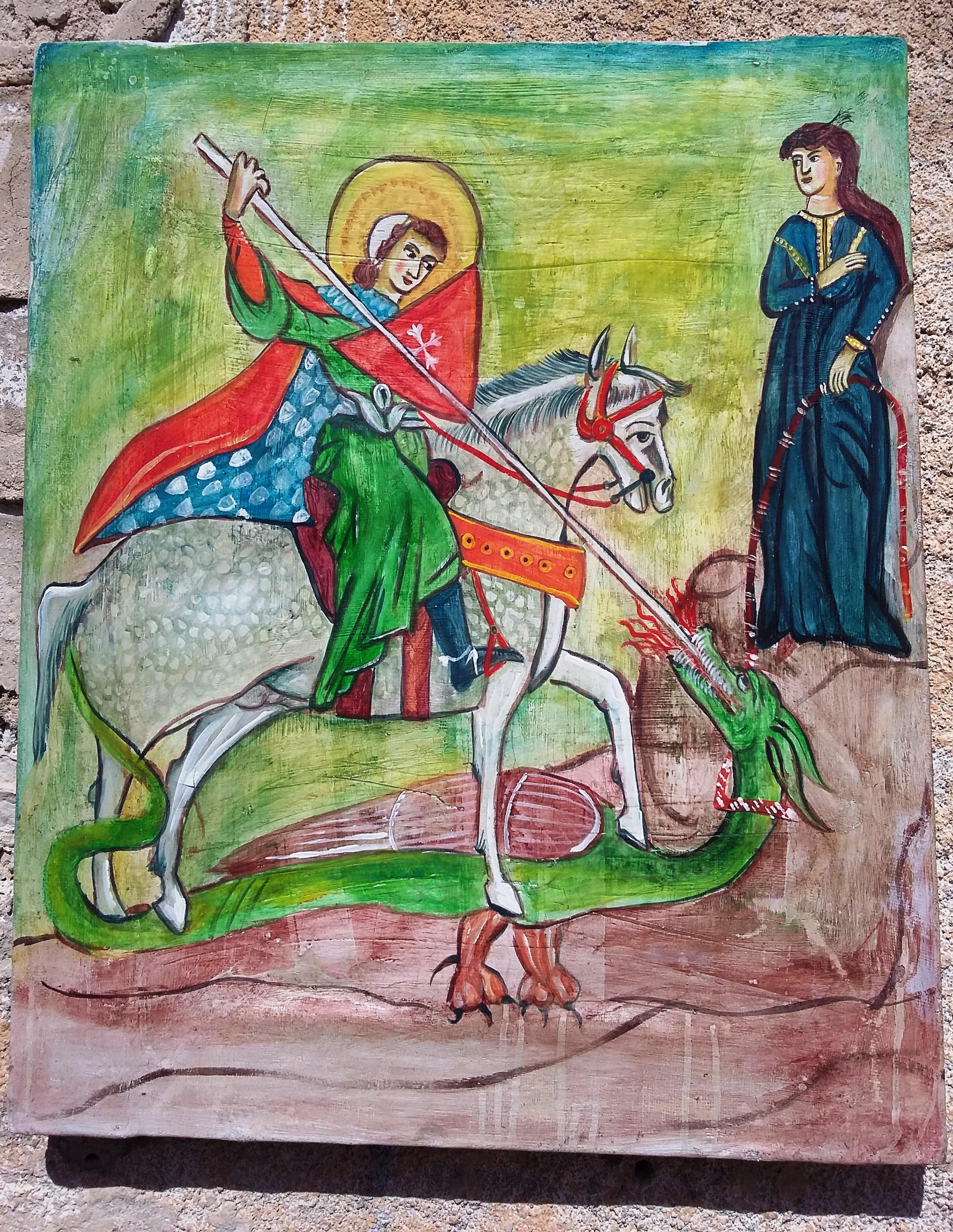 Affresco san Giorgio e il drago